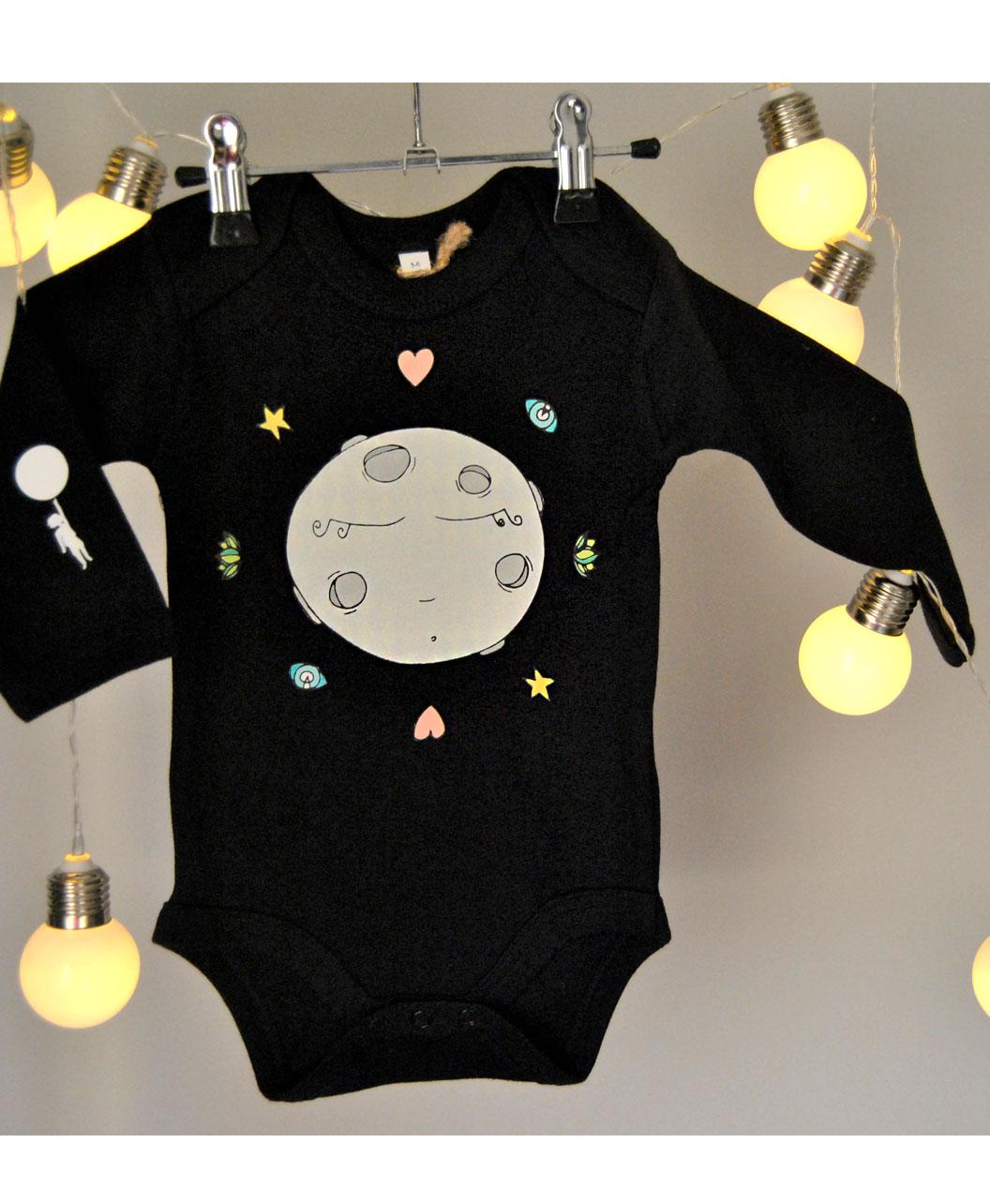 body bebe manga larga negro algodon organico dibujo luna llena original bonito diferente