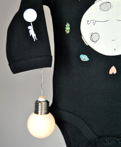 body manga larga negro algodon organico para bebe original luna