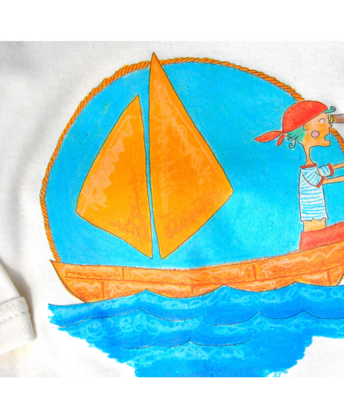 body bebe algodon organico manga larga original divertido diferente ilustraciones infantiles marinero pirata