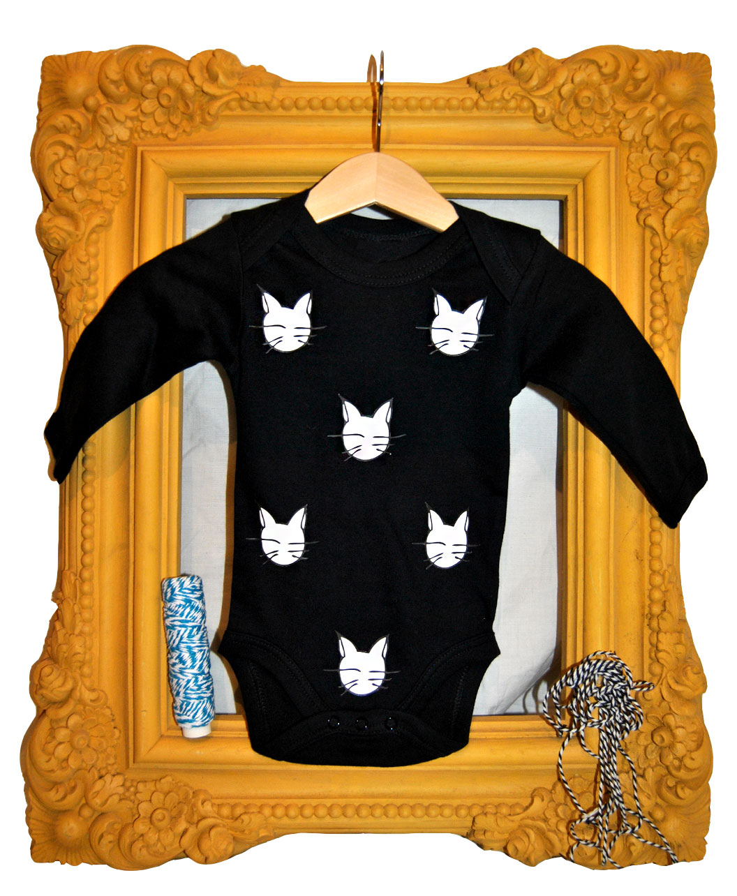 bodie bebe original negro algodon organico manga larga gatos