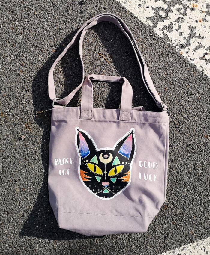 bolso grande estilo alternativo diferente bonito gato negro