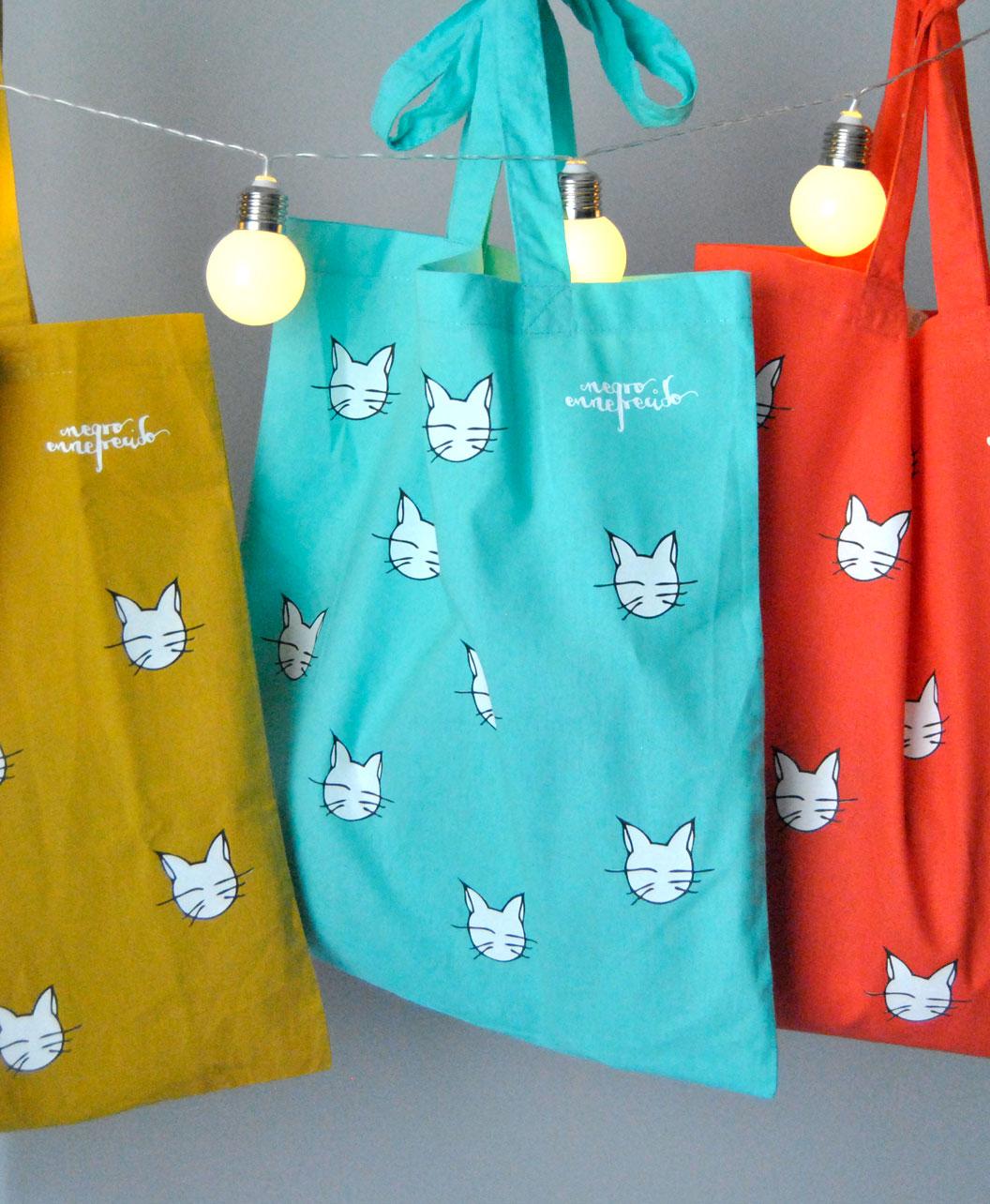 tote bags colores alegres divertidos diferentes gatos