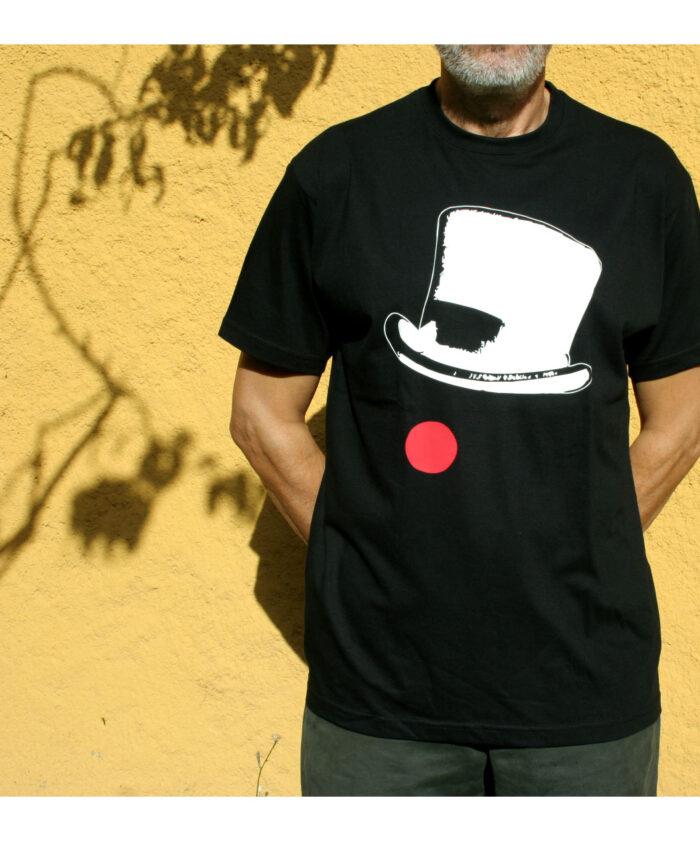 camiseta basica unisex manga corta negra ilustracion original circo sombrero payaso