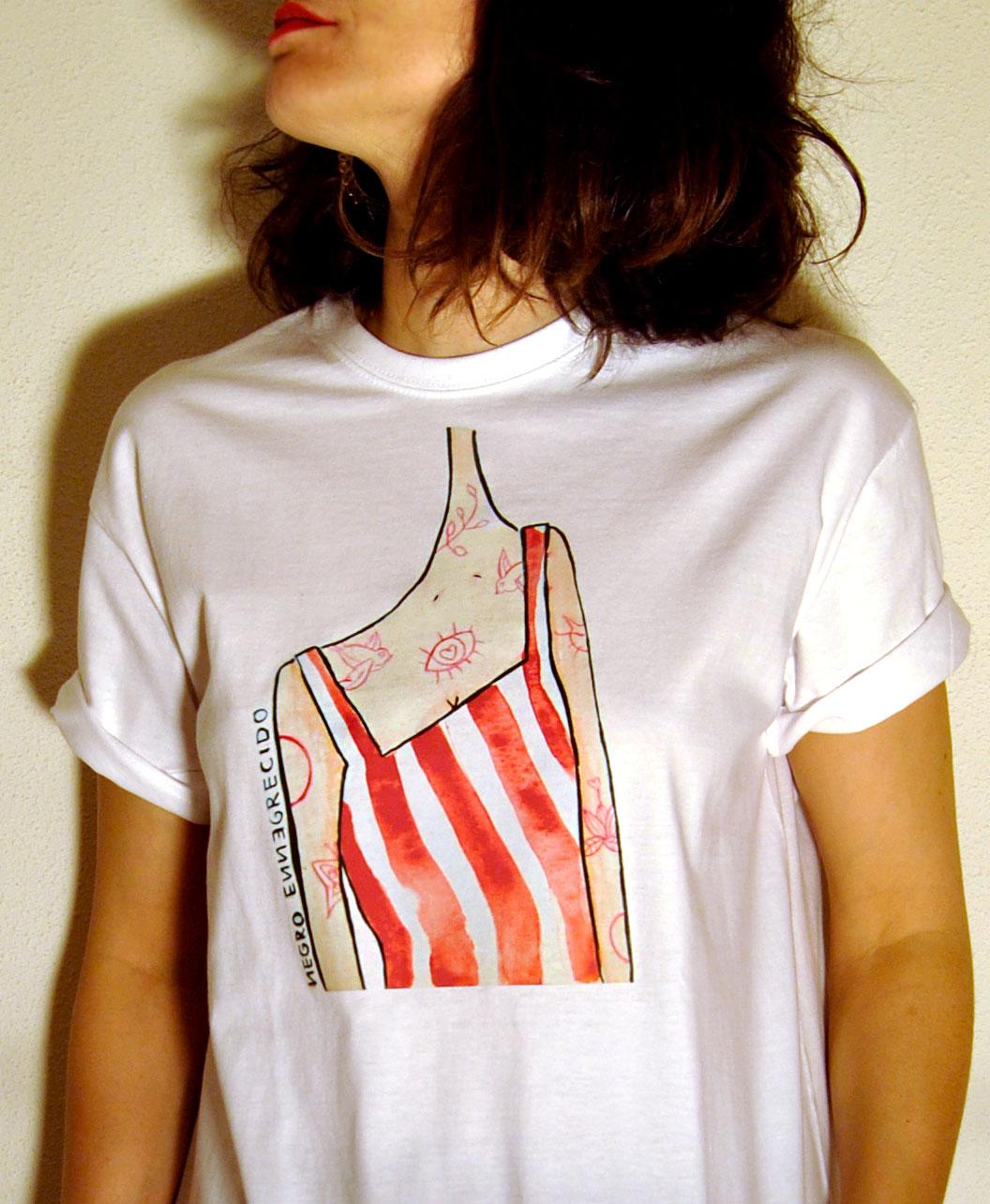 camiseta basica unisex alternativa ilustraciones diferentes y originales chica rayas