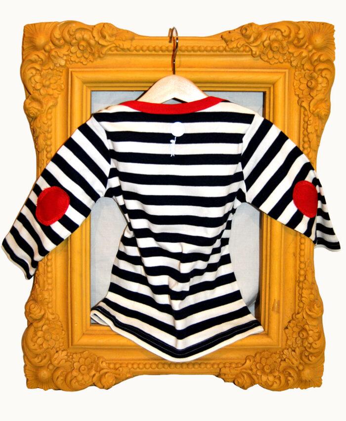 camiseta baby manga larga rayas navy coderas rojas calavera