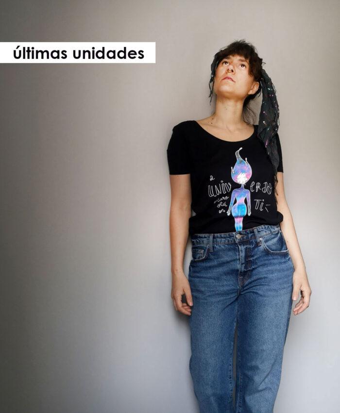 camiseta mujer algodon organico original diferente ilustracion galaxias universo en ti