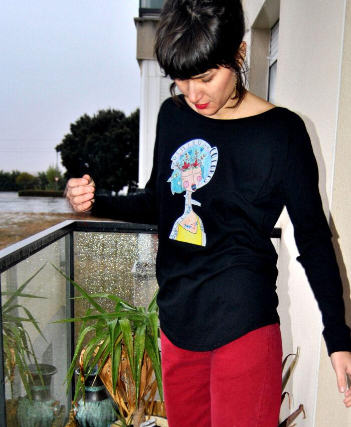 camiseta manga larga mujer estilo comodo sporty con ilustraciones de canciones originales voz color