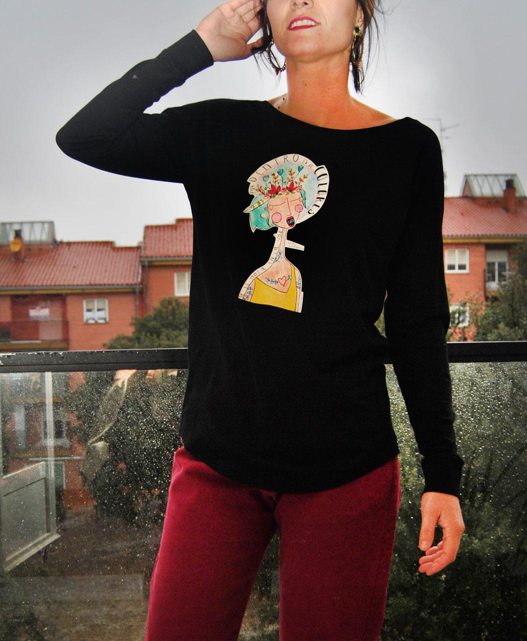 camiseta manga larga mujer algodon organico diferente original estilo alternativo voz color