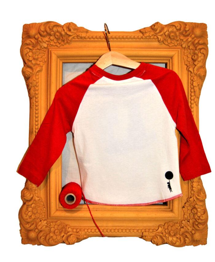 camiseta baby algodon organico mangas rojas beisbol circo