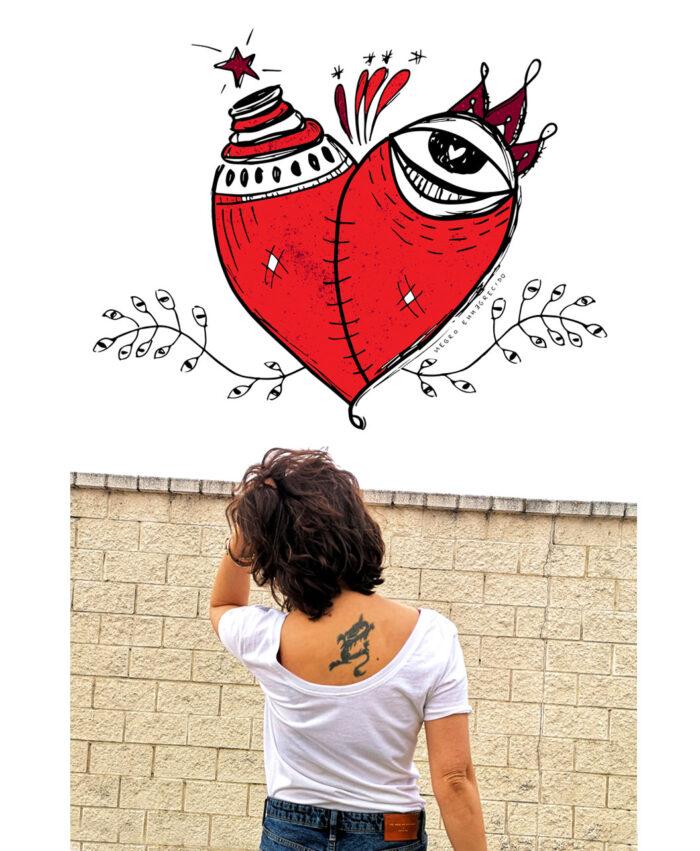 camiseta mujer algodon organico reversible ilustraciones bonitas corazon malherido