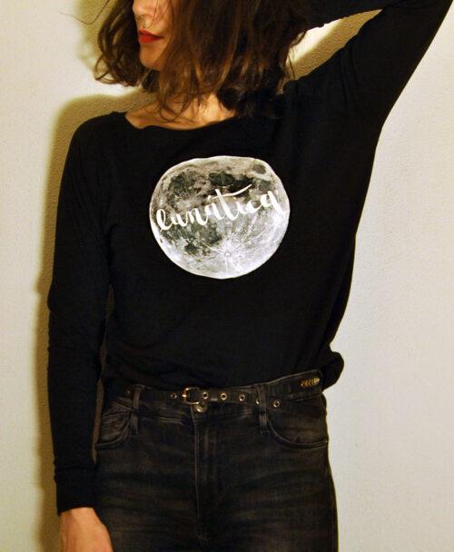 camiseta manga larga mujer original diferente luna llena lunatica