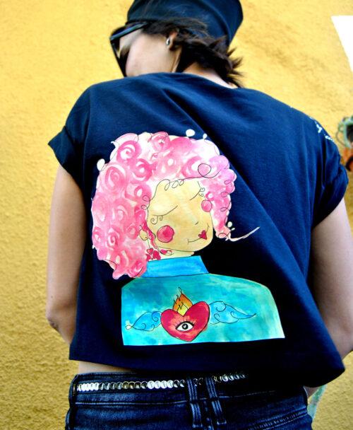 camiseta crop algodon organico mujer corte moderno estilo alternativo love