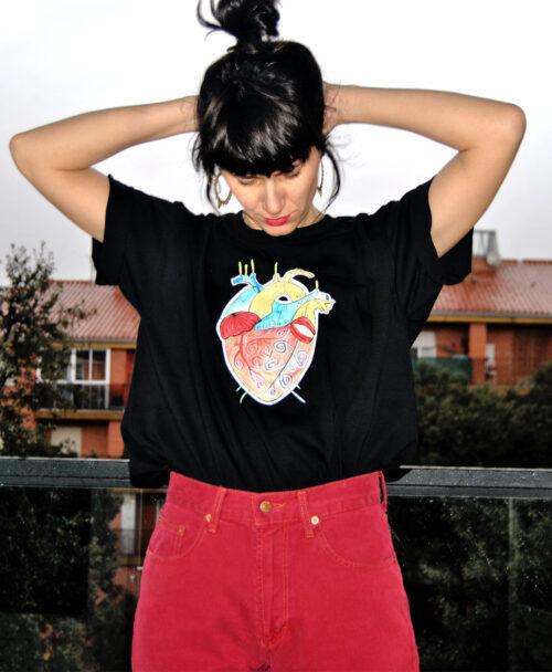 camisetas manga corta unisex disenos originales diferentes corazon anatomico