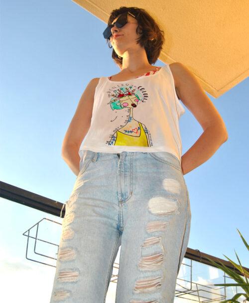 camiseta crop tirantes mujer verano dibujo cancion extremoduro