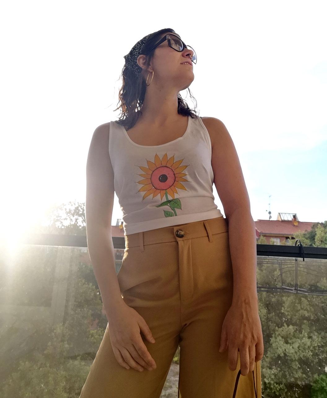 camiseta tirantes mujer algodon organico estilo alternativo ojo girasol