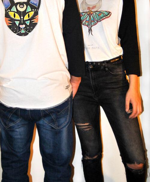 camiseta unisex beisbol manga negra orignales dibujos diferentes polilla