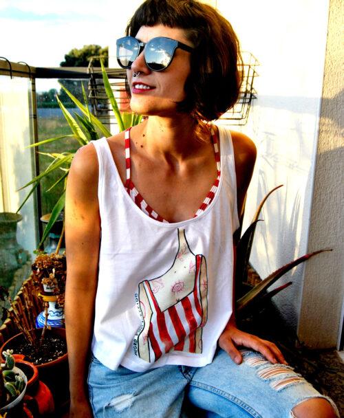 camiseta de tirantes mujer con dibujo chica rayas