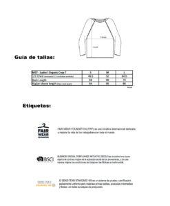 guia de tallas camiseta mujer algodon organico manga larga
