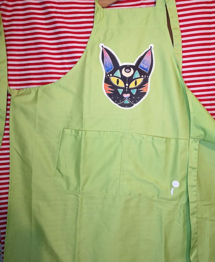 delantal mandil cocina master chef deco home grande calidad verde ilustraciones originales ideal regalo gato negro cosmico