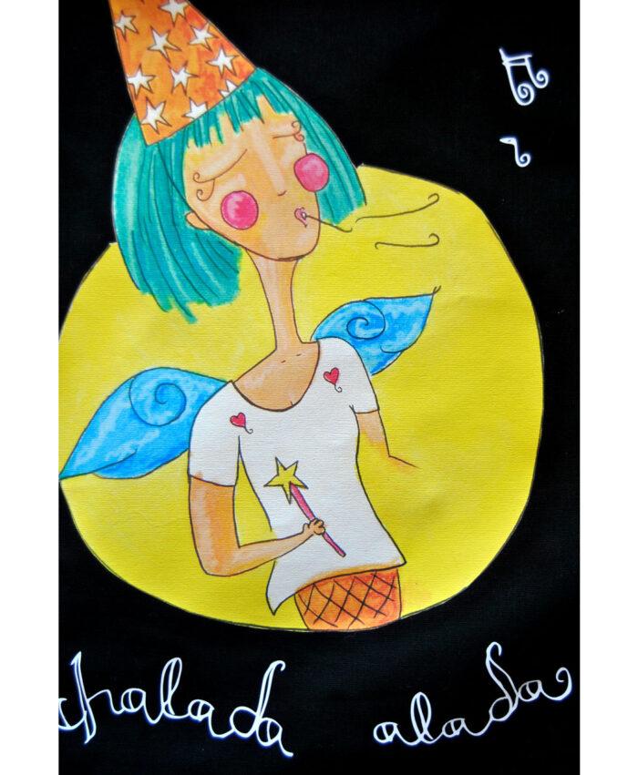 mochila con dibujo original y divertido chalada alada