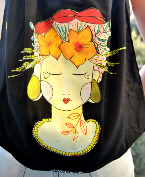mochila de tela con ilustracion frida