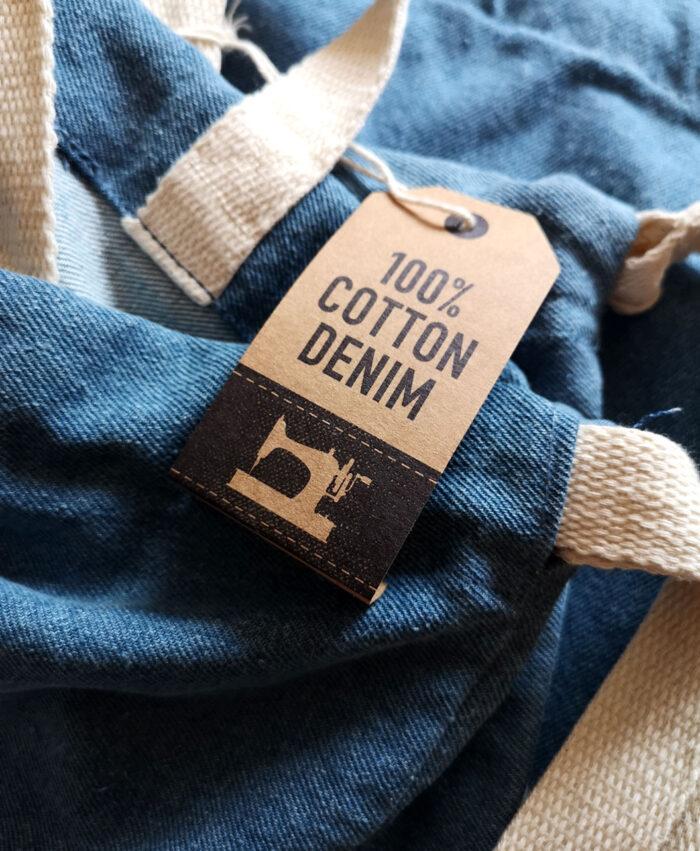 mochilas denim tela vaquera algodon etiqueta