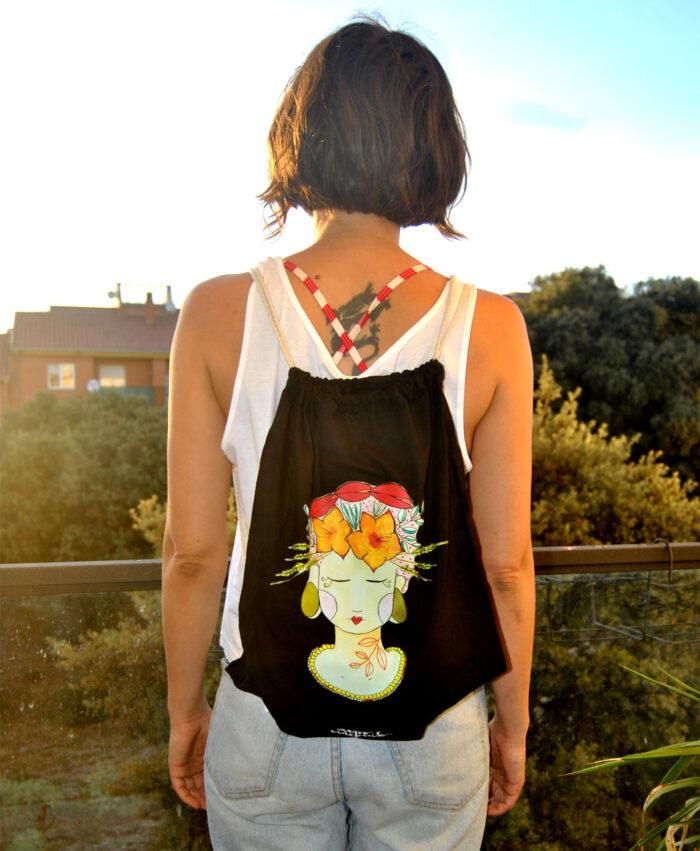 mochila con ilustracion bonita tropical lady