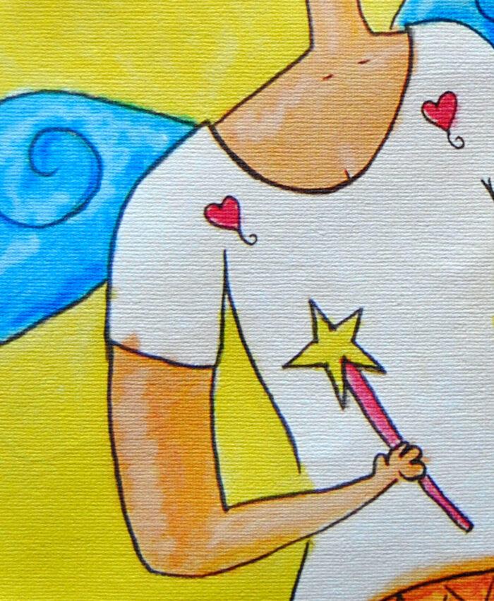mochila de tela con dibujo alegre y colorido chalada alada