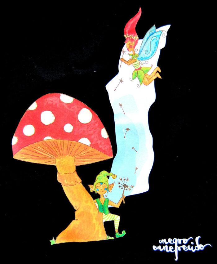 mochila con dibujo fantasia seta duendes