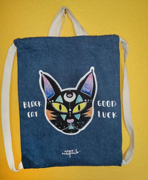 mochila vaquera denim gato negro buena suerte