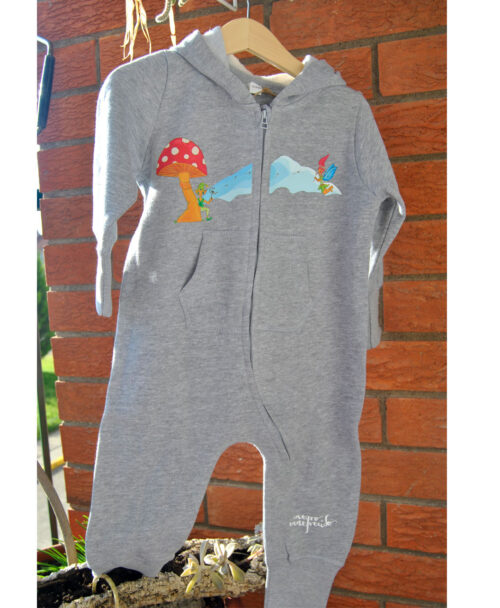 mono chandal enterizo tipo buzo pijama gris bebe ilustraciones infantiles seta duende hada