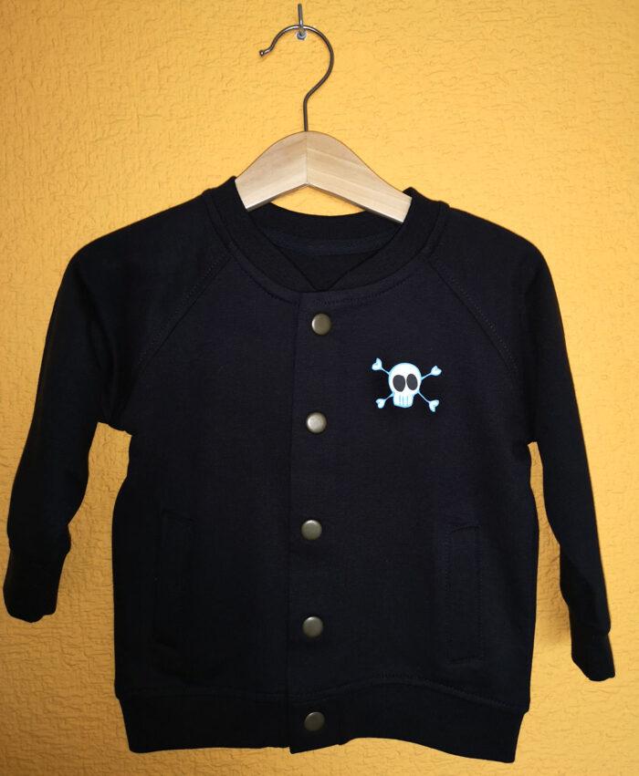 chaqueta sudadera botones bomber baby algodon organico calavera