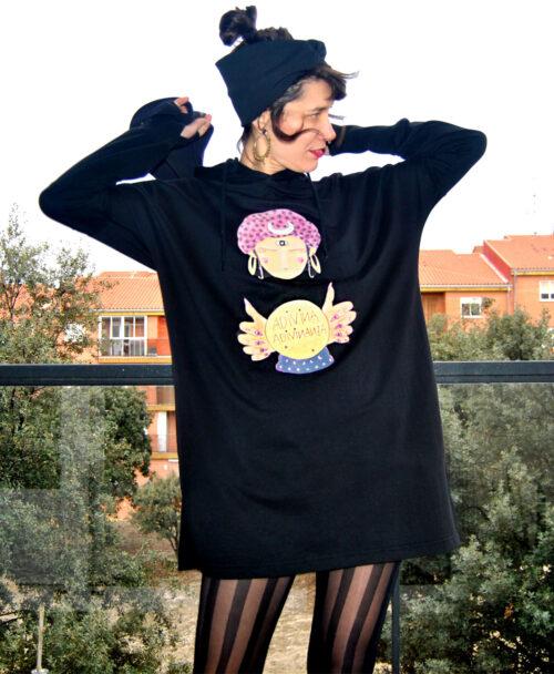 vestido manga larga capucha mujer sudadera algodon organico dibujo adivina