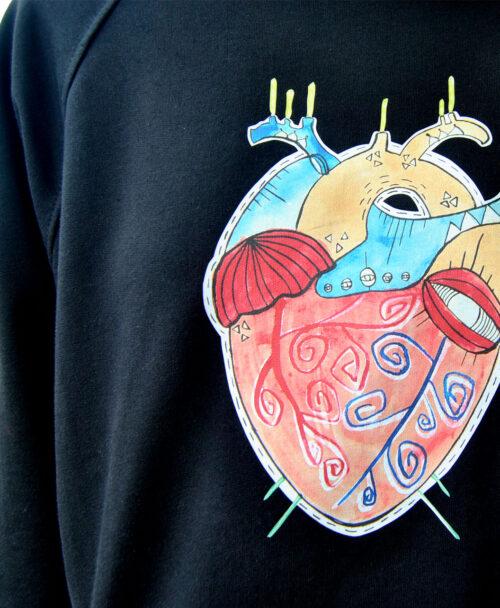 sudaderas unisex de algodon organico con ilustraciones originales y diferentes corazon anatomico