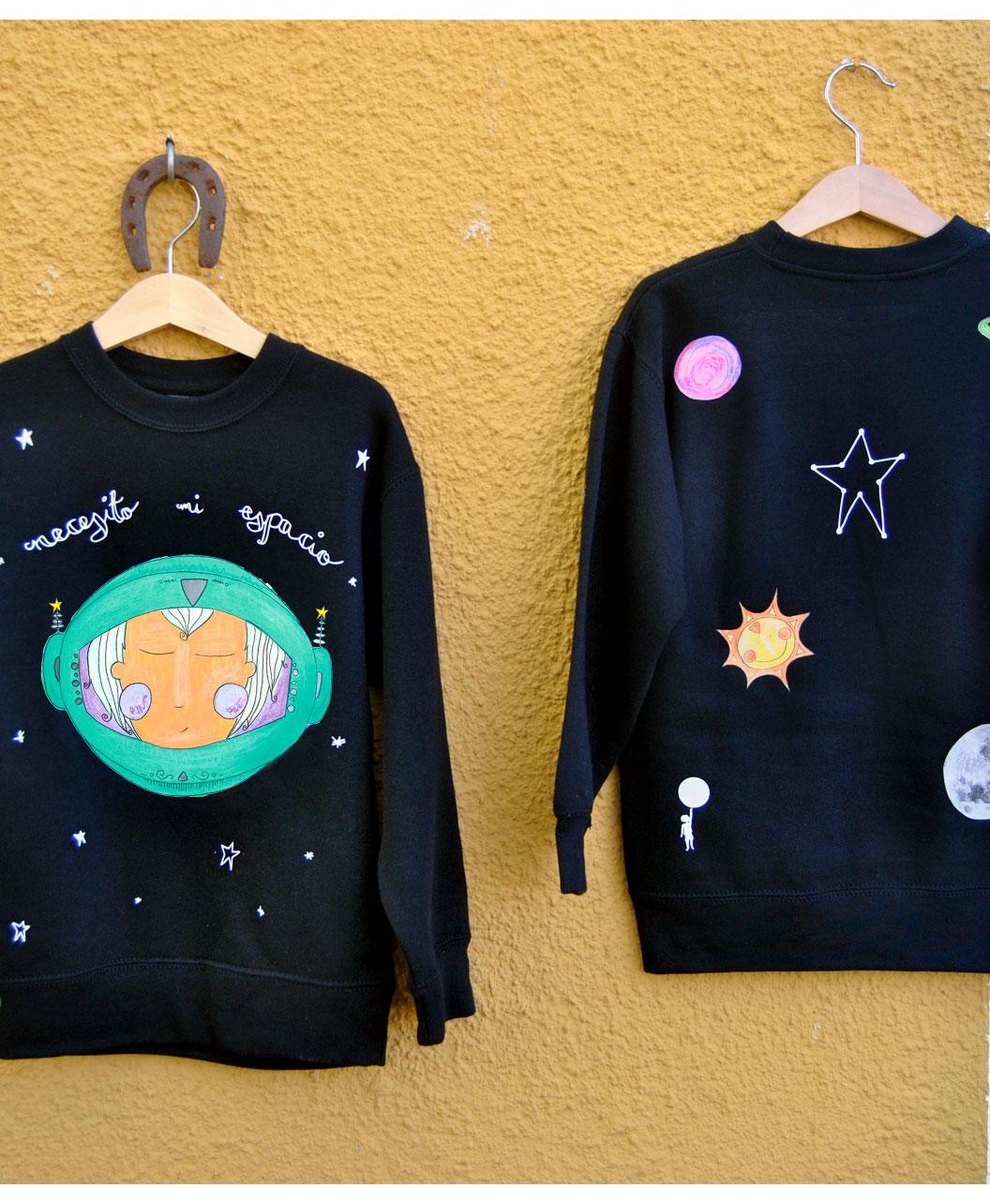 sudadera estilo alternativo infantil necesito mi espacio astronauta