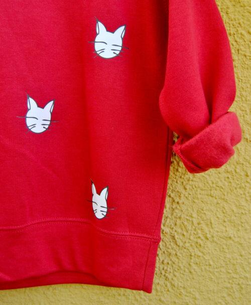 sudaderas kids originales diferentes unisex calentitas roja gatos