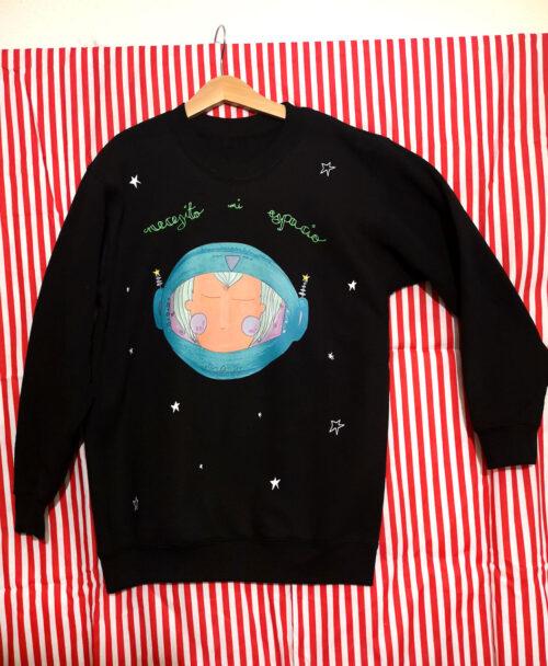 sudadera ninios kids original negra cosmonauta necesito mi espacio planetas neon