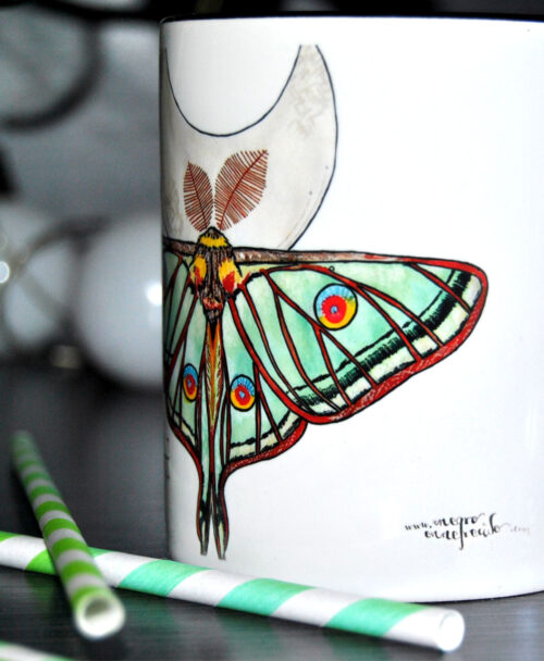 taza ilustraciones originales animales mariposa polilla luna espanola