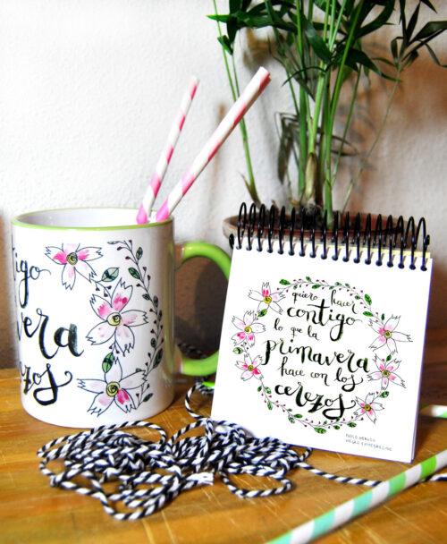 conjunto taza libreta original diferente ideal regalo poesia primavera neruda