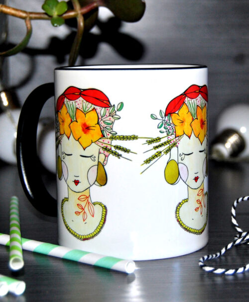 taza original diferente dibujo chica flores frida tropical lady