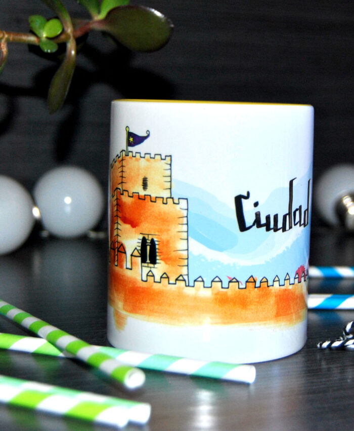 taza ilustracion monumento castillo ciudad rodrigo