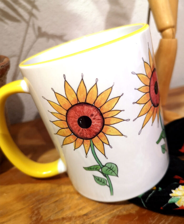 taza ideal regalo ojos girasoles amarilla