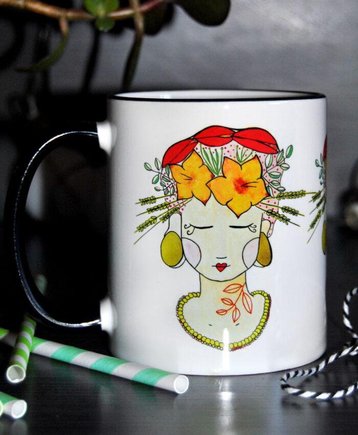 taza original diferente dibujo chica flores frida tropical lady