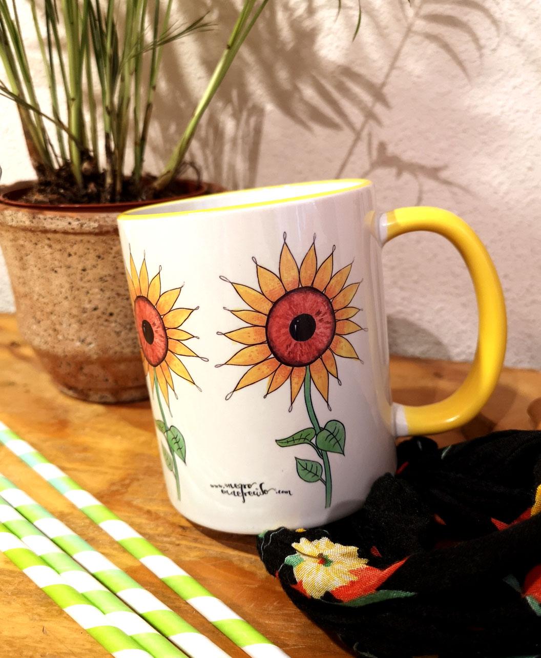 taza original para regalo amarilla girasoles ojos