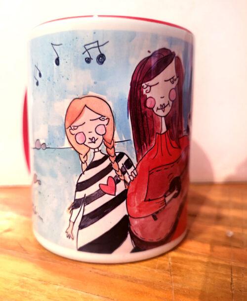 taza personalizada ilustracion retrato familia divertido madre hijas