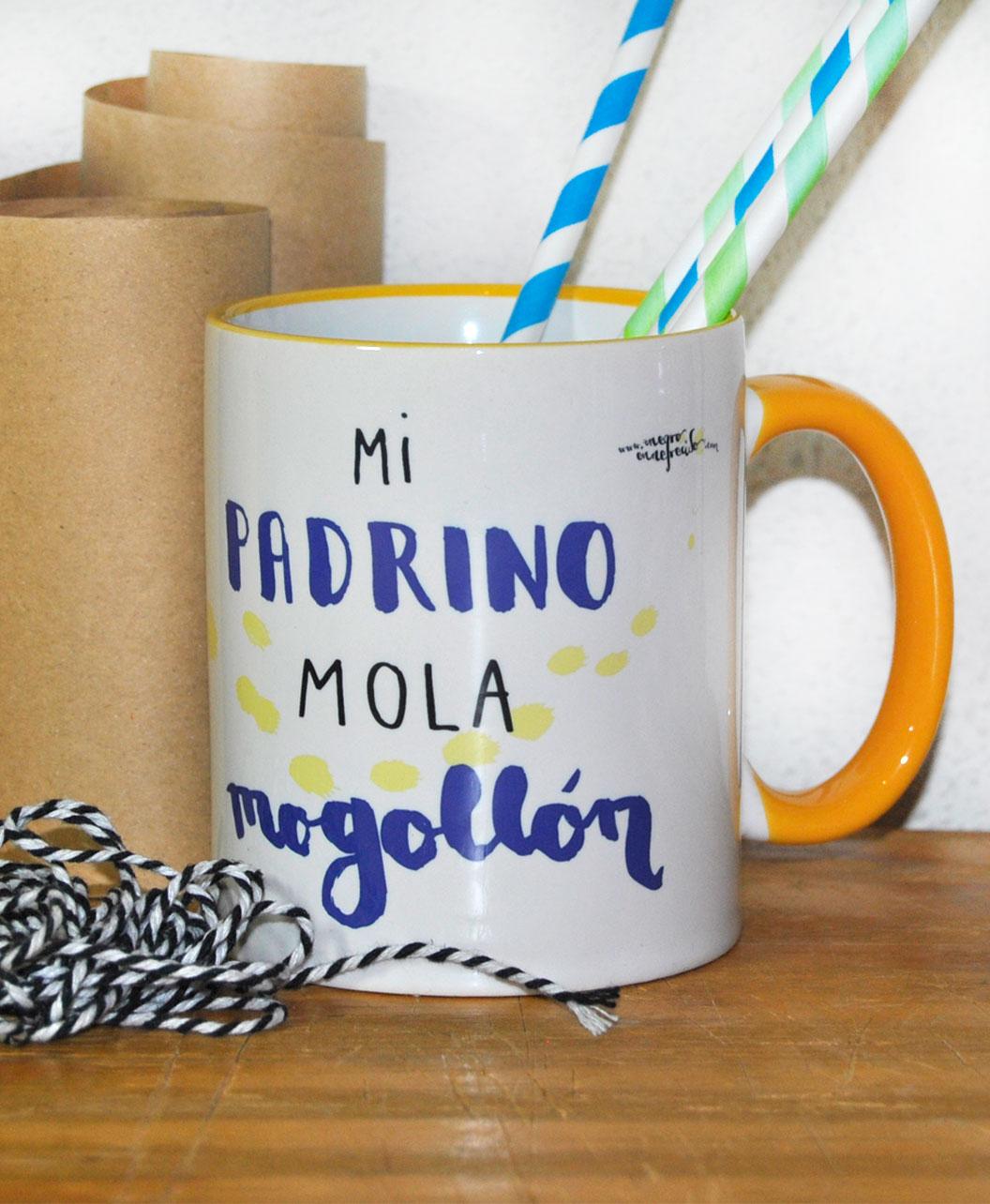 taza regalo padrino personalizada con foto y frase