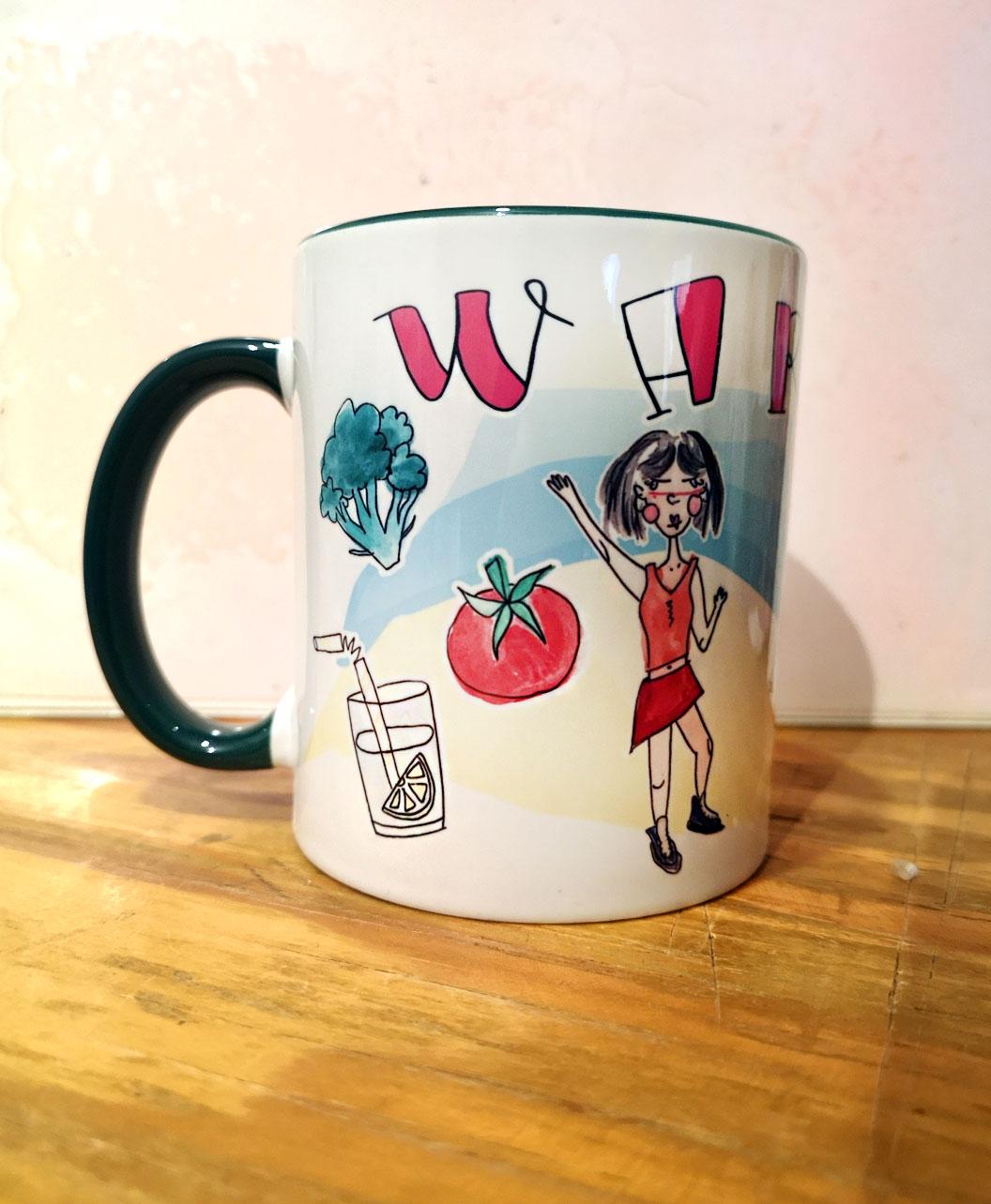 taza personalizada ilustracion retrato divertido amigas ideal regalo