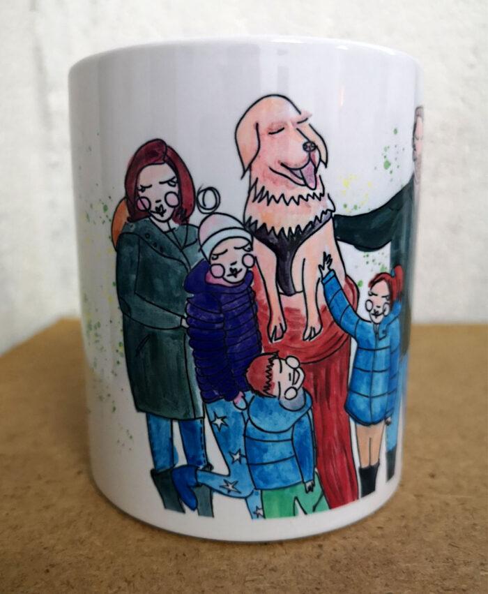 taza personalizada ilustracion retrato divertido familiar