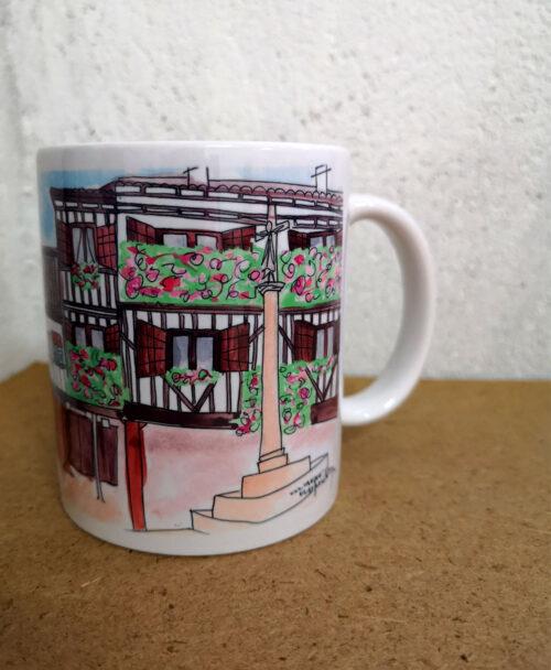 taza personalizada ilustracion pueblo ciudad la alberca