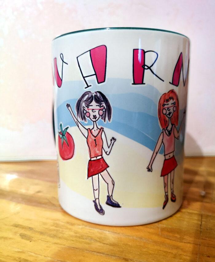 taza personalizada ilustracion retrato divertido amigas ideal regalotaza personalizada ilustracion retrato divertido amigas ideal regalo